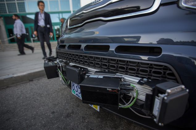 LOS ANGELES, CA - NOVEMBER 17: Radar sensors are seen on a car equipped with LIDAR, radar, cameras and GPS units using PolySync autonomy system development for creating and deploying driverless vehicles during the four-day auto trade show AutoMobility LA at the Los Angeles Convention Center on November 17, 2016 in Los Angeles, California. AutoMobility LA precedes the ten-day LA Auto Show, open to the public November 18 through 27. (Photo by David McNew/Getty Images)