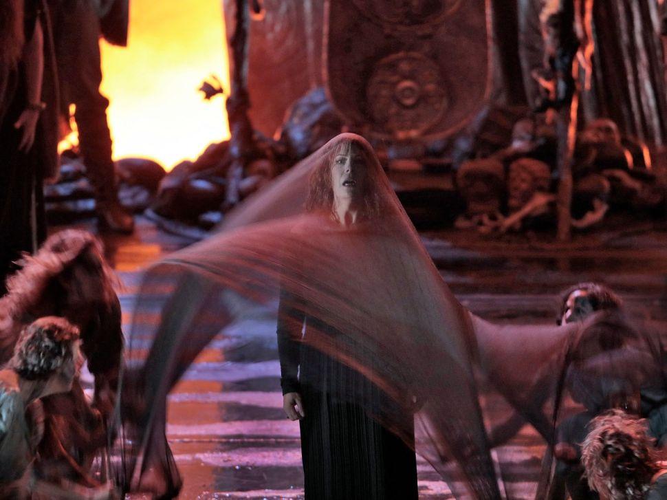 The Druid Priestess (Sondra Radvanovsky) prepares for ritual suicide.