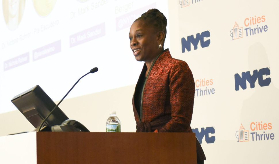 First Lady Chirlane McCray speaks at the second convening of the Cities Thrive Coalition in Lower Manhattan.