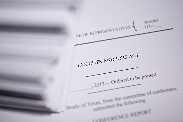 """A copy of the """"Tax Cuts and Jobs Act,"""" a 1,097-page Republican tax bill."""