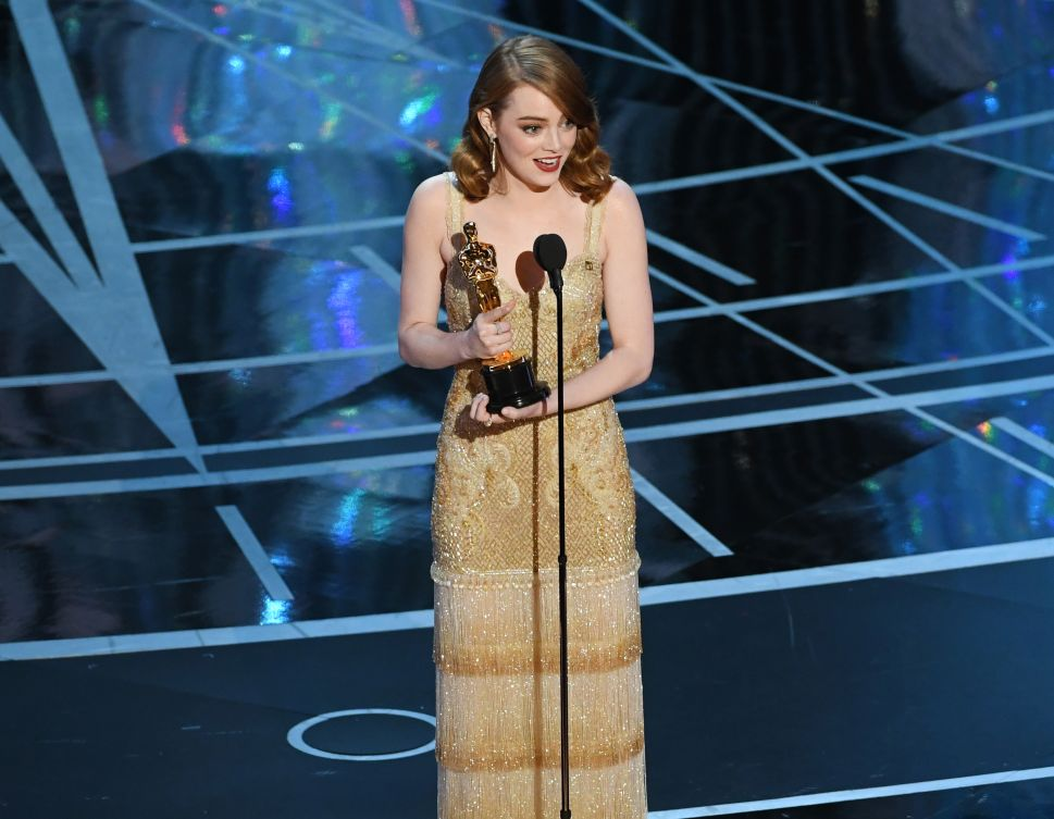 Emma Stone accepts the Best Actress Oscar for 'La La Land.'