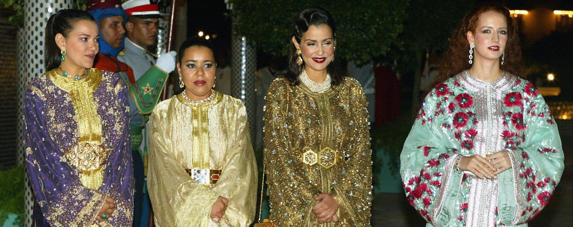 FEZ, MOROCCO: (L-R) Moroccan Princess Lalla Hasna (L), Princess Lalla Hasma, Princess Lalla Meriam and Princess Lalla Salma attend a dinner marking the state visit by French President Jacques Chirac at the Royal Palace, 09 October 2003 in Fez, Morocco. Chirac is on a three-day visit to the North African country. AFP PHOTO/POOL/Pascal Le Segretain (Photo credit should read PASCAL LE SEGRETAIN/AFP/Getty Images)