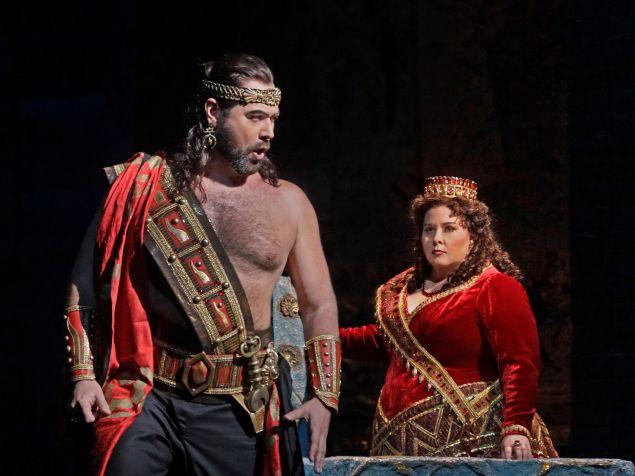 Assur (Ildar Abdrazakov) and Semiramide (Angela Meade) scheme amid styrofoam at the Met.