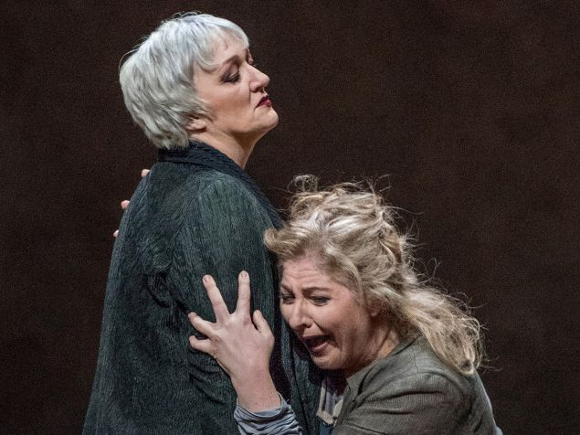 Elektra (Christine Goerke, right) weeps, but her mother (MIcaela Shuster) has heard it all before.