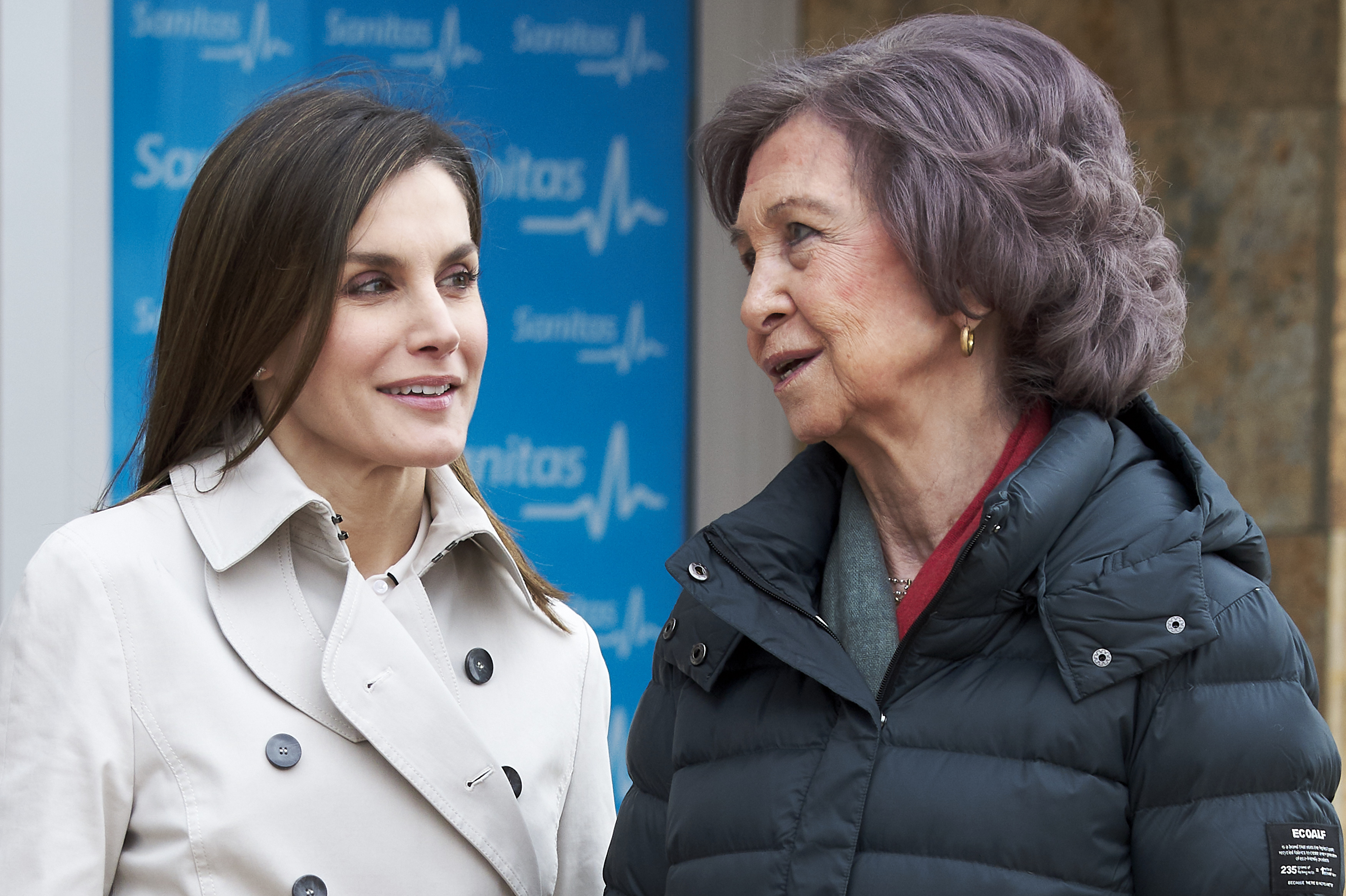 MADRID, SPAIN - APRIL 07: Queen Letizia of Spain (L) and Queen Sofia (R) visit King Juan Carlos at La Moraleja Hospital on April 7, 2018 in Madrid, Spain. King Juan Carlos has been surgery on his right knee to replace an old prosthesis.