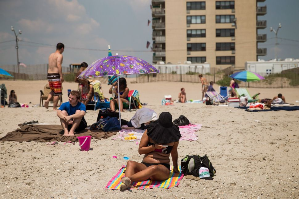 New Yorkers hanging out at Rockaway Beach