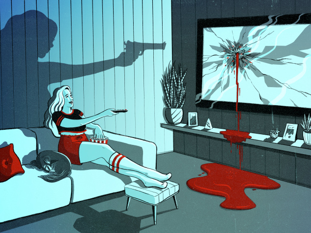 A woman points a remote at her television set, the shadow behind her shows the silhouette of a gun, the TV drips blood.