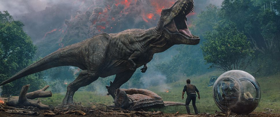 "Owen (CHRIS PRATT) meets the vicious T. rex in ""Jurassic World: Fallen Kingdom."" When the island's dormant volcano begins roaring to life, Owen and Claire (BRYCE DALLAS HOWARD) mount a campaign to rescue the remaining dinosaurs from this extinction-level event. Welcome to ""Jurassic World: Fallen Kingdom."""