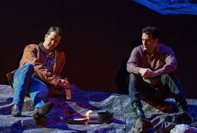 Ennis and Jack (Daniel Okulitch Glenn Seven Allen) get acquainted in NYCO's 'Brokeback Mountain'.