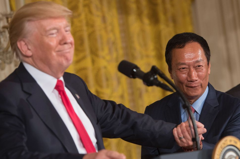 President Trump struck the Foxconn deal with Terry Gou in July 2017.