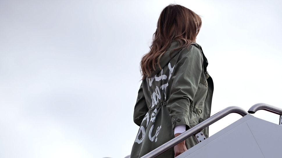 Melania Trump wears Zara jacket to visit facilities that house and care for children taken from their parents at the U.S.-Mexico border