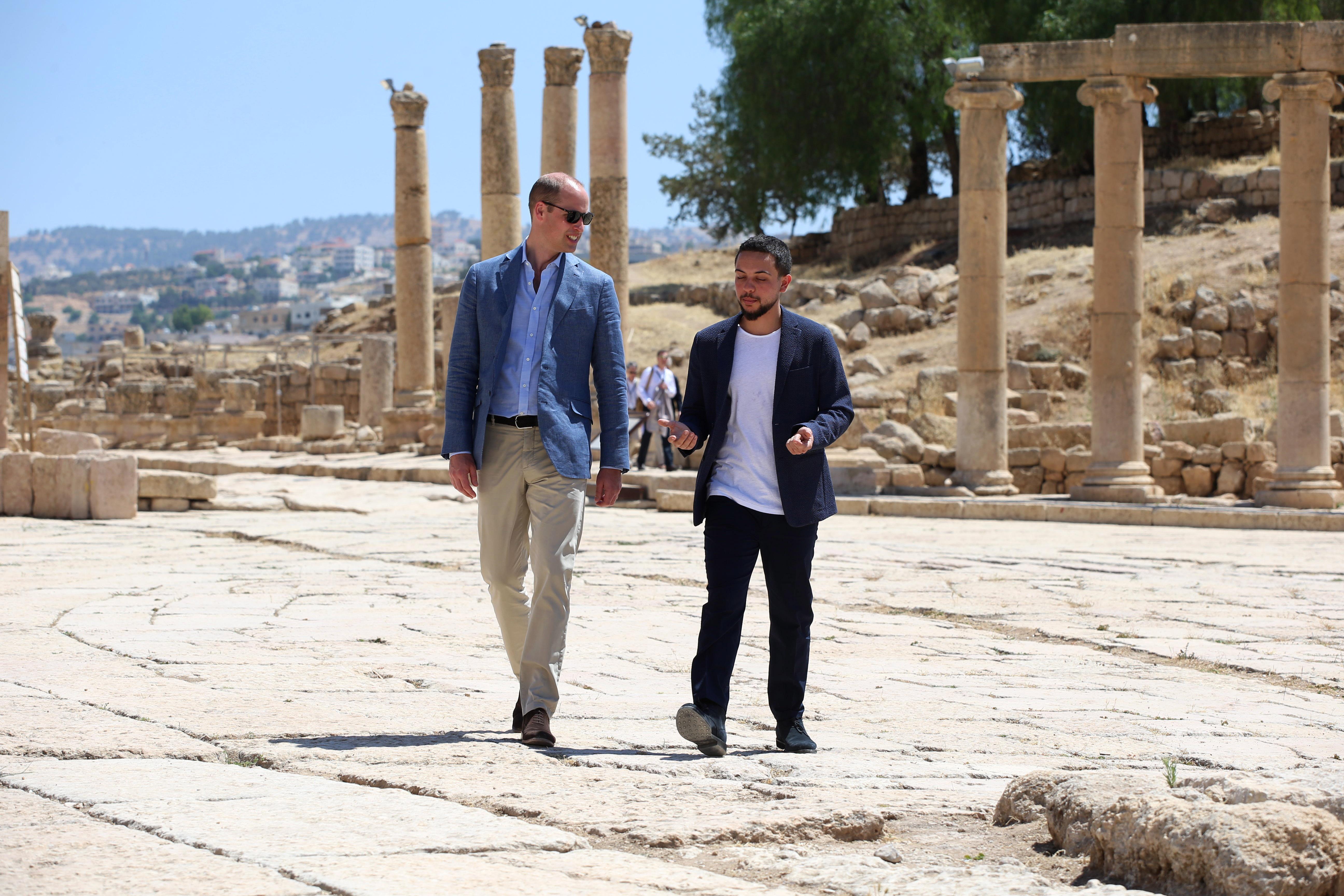 AMMAN, JORDAN - JUNE 25: Prince William, Duke of Cambridge and Crown Prince Hussein of Jordan visit the Jerash archaeological site on June 25, 2018 in Amman, Jordan.