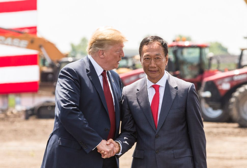 Trump at the groundbreaking ceremony of Foxconn's Wisconsin plant.
