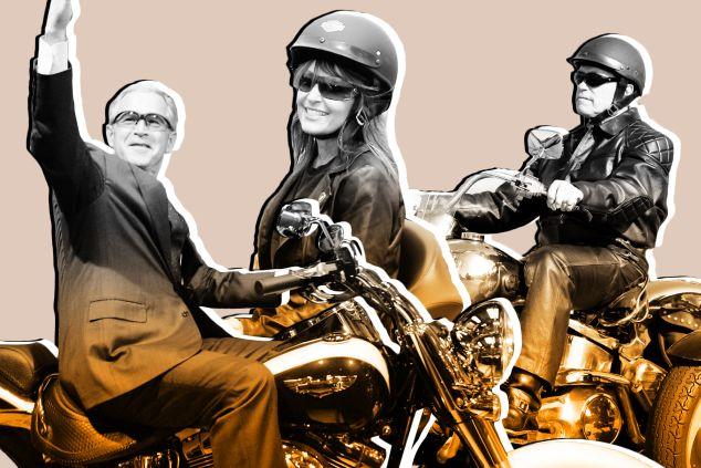 George W. Bush, Sarah Palin and Arnold Schwarzenegger all pose on Harley-Davidsons.