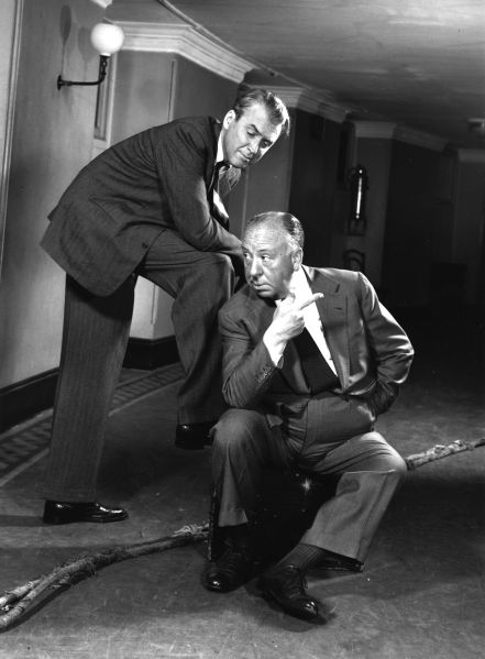James Stewart poses with Alfred Hitchcock, a director many up-and-comers love to reference.