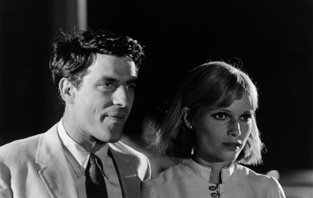 Mia Farrow with John Cassavetes in a scene from Rosemary's Baby.