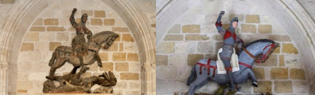 A 16th-century wooden figure of St. George restored at St. Michael's Church in Estella, Spain.