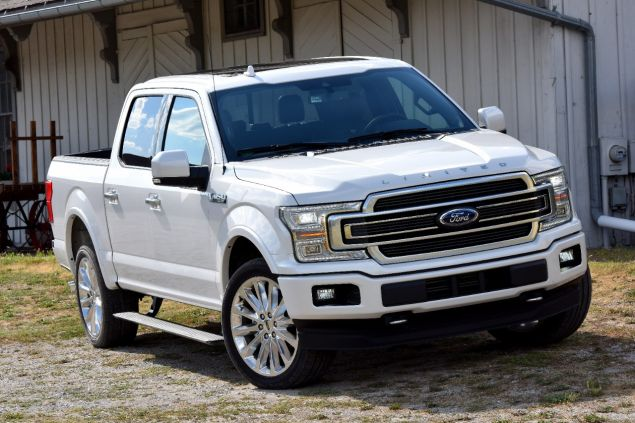 A 2018 Ford F-150 in white.