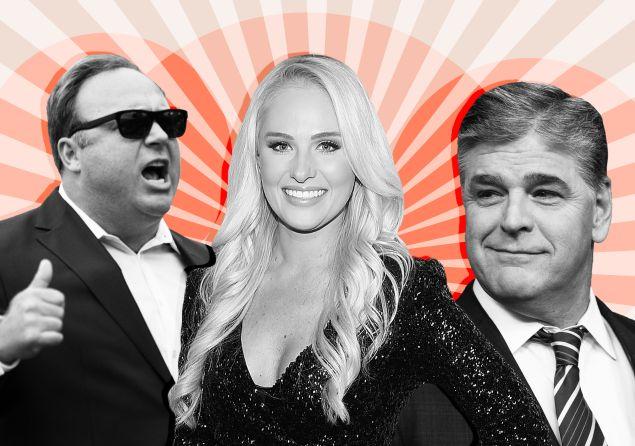Alex Jones, Tomi Lahren, and Sean Hannity.