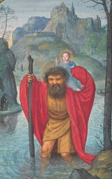 St. Christopher Carries Christ Child, from Book of Hours, Belgium, Bruges, ca. 1520.