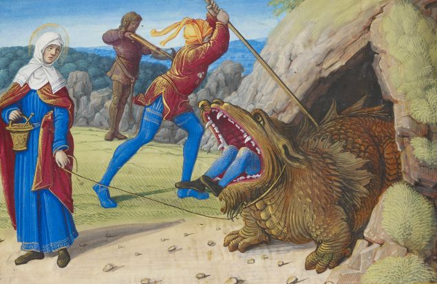 The Taming the Tarasque, from Hours of Henry VIII, France, Tours, ca. 1500.