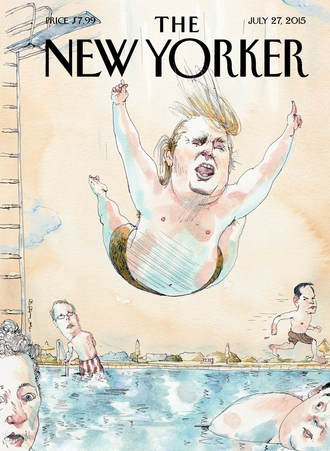 The New Yorker's 'Belly Flop' cover featuring Donald Trump.