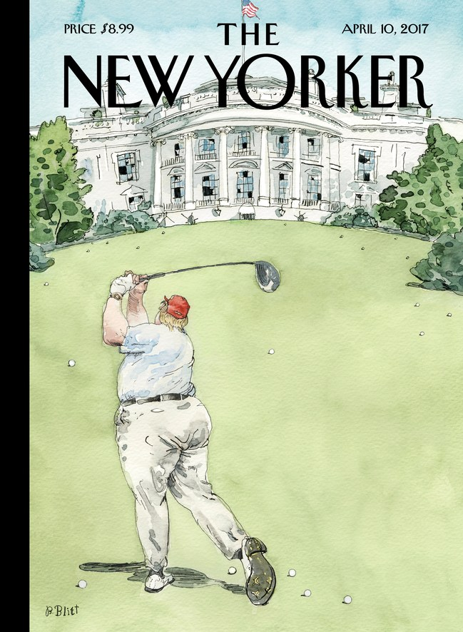 "The New Yorker's ""Broken Windows"" cover featuring President Donald Trump."