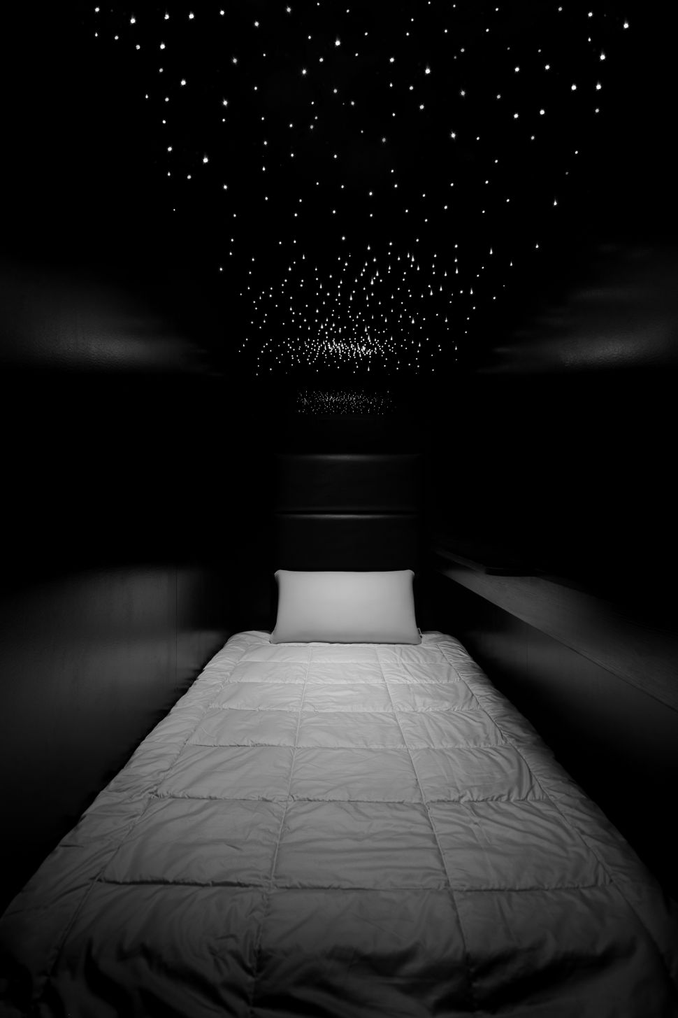 The pods at Nap York in New York City feature Japanese Airweave mattresses and lights designed to resemble stars.