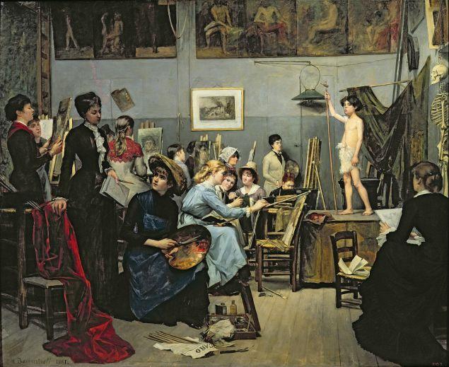Marie Bashkirtseff, <i>In the Studio,</i> 1881. Oil on canvas, 60 5/8 x 73 1/4 in. Dnipropetrovsk/Bridgeman Images. Courtesy American Federation of Arts