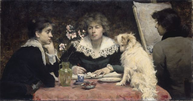 Louise Breslau, The Friends, 1881. Oil on canvas, 33 1/2 x 63 in.