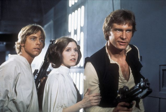 Mark Hamill, Carrie Fisher and Harrison Ford in Star Wars: Episode IV - A New Hope.