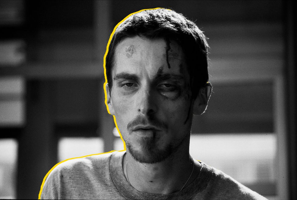 "Christian Bale as a severely under-slept factory worker in the 2004 film, ""The Machinist."""