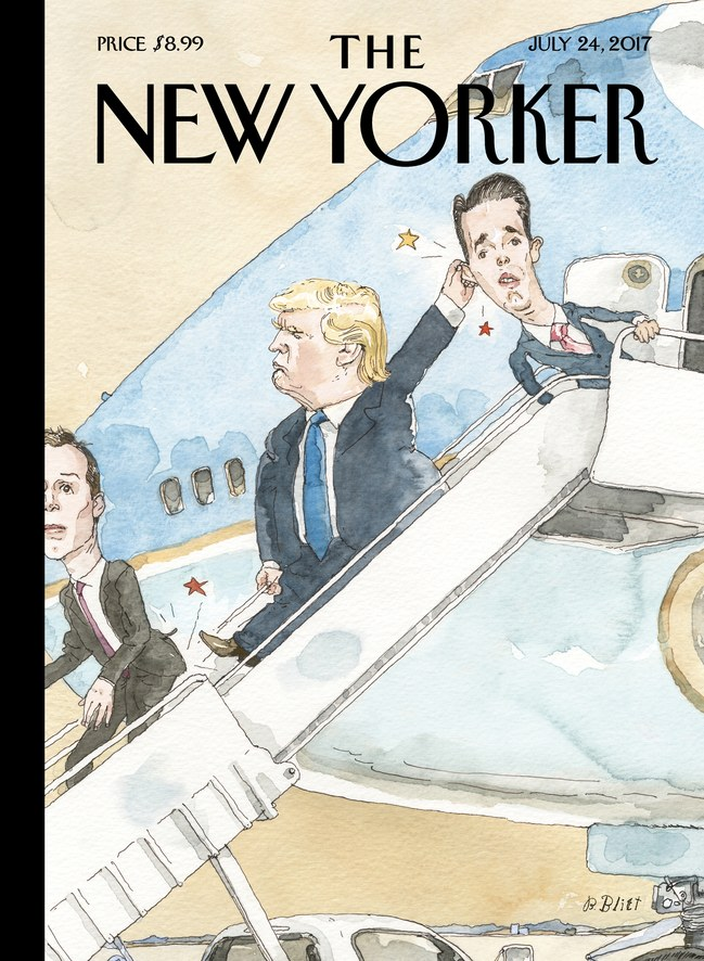 "The New Yorker's ""Grounded"" cover featuring President Donald Trump."