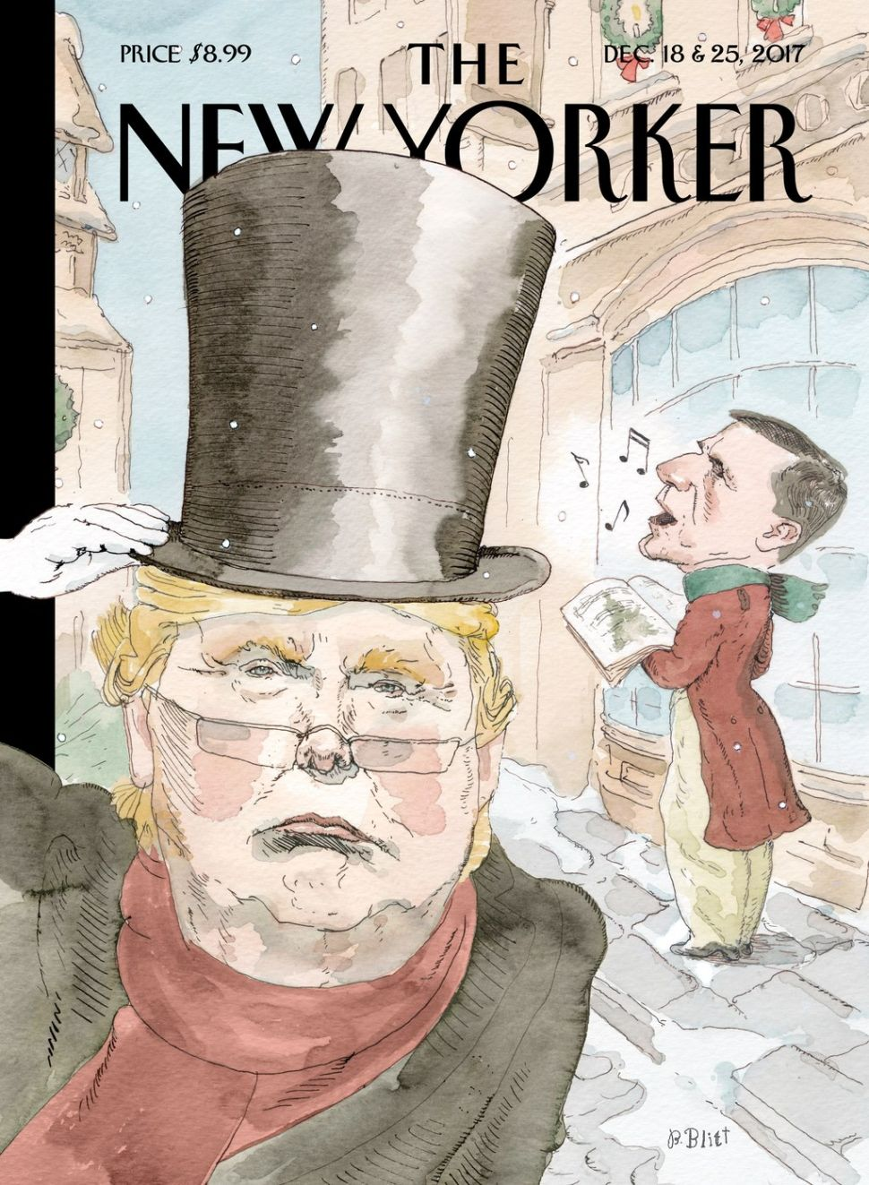 "The New Yorker's ""Christmas Carol"" cover, featuring President Donald Trump."