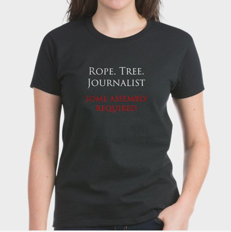 "A human moderator would've stopped this ""Rope Tree Journalist"" T-shirt from appearing on CafePress."