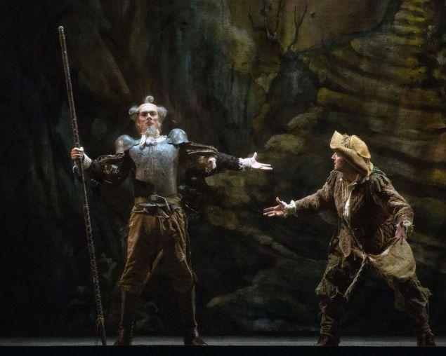 Clinton Luckett as Don Quixote and Sean Stewart as Sancho Panza in Don Quixote.