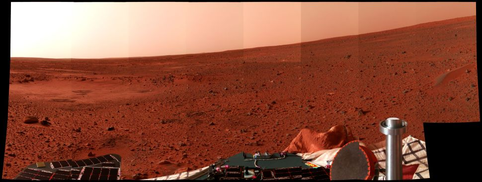 A Mars landscape is seen in a picture taken by the panoramic camera on the Mars Exploration Rover Spirit.