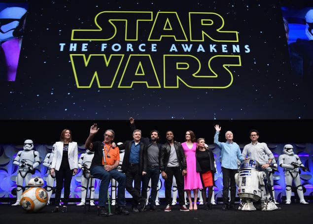 Producer Kathleen Kennedy, actors Peter Mayhew, Mark Hamill, Oscar Isaac, John Boyega, Daisy Ridley, Carrie Fisher, Anthony Daniels and director J.J. Abrams.