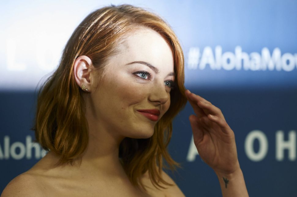 Emma Stone attends a screening of 'Aloha' in London.
