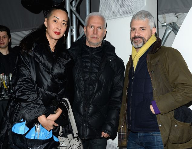 MoMA PS1 chief curator Peter Eleey (right) with the institution's director, Klaus Biesenbach, (center) and Angela Goding, director of development.