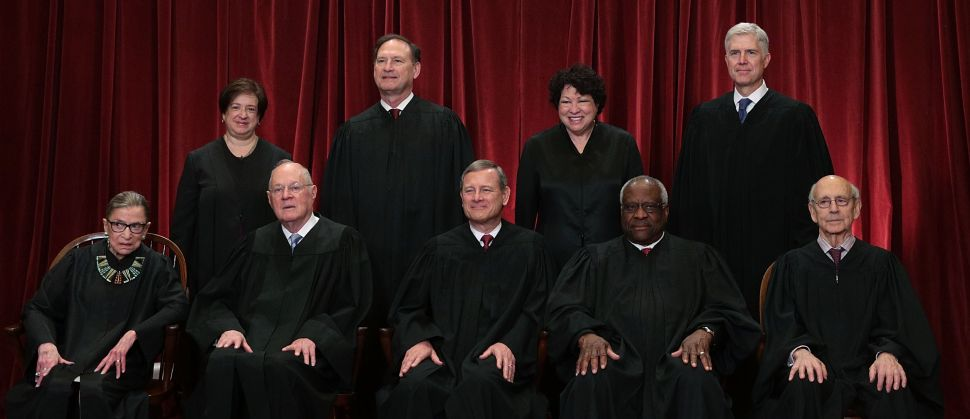 Justice Ruth Bader Ginsburg, Justice Anthony M. Kennedy, Justice John G. Roberts, Clarence Thomas, and Justice Stephen Breyer, Justice Elena Kagan, Justice Samuel Alito Jr., Justice Sonia Sotomayor, and Justice Neil Gorsuch.