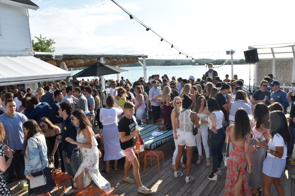 Partygoers gather at the ultra-trendy Surf Lodge.