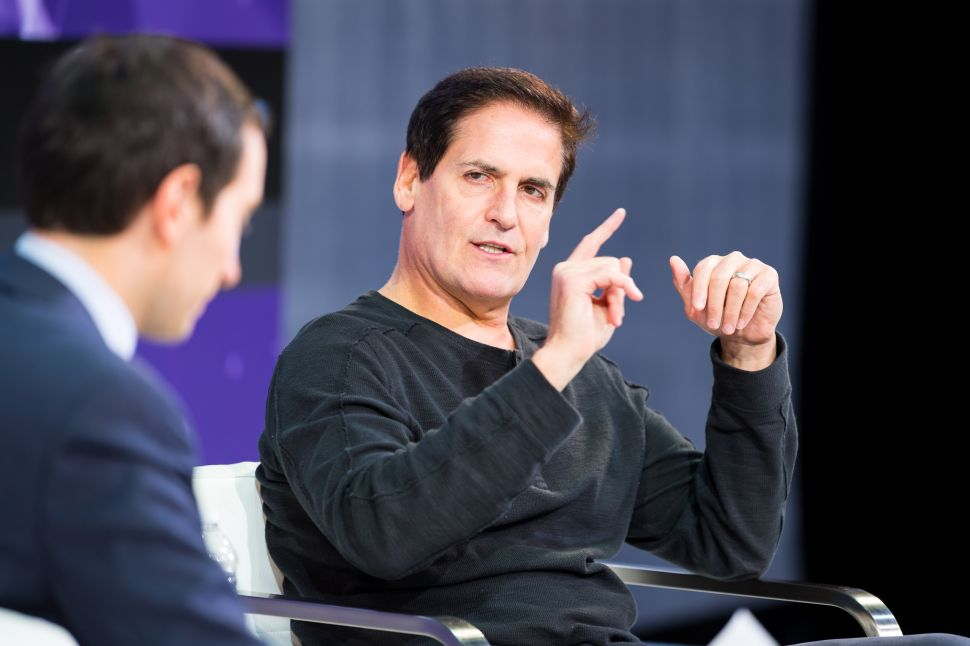 Andrew Ross Sorkin and Mark Cuban speak onstage at The New York Times 2017 DealBook Conference.