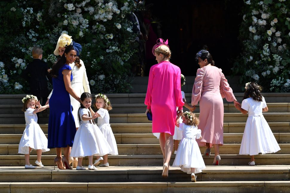 WINDSOR, UNITED KINGDOM - MAY 19: Princess Charlotte of Cambridge, Catherine, Duchess of Cambridge, Jessica Mulroney, Ivy Mulroney, Florence van Cutsem, Zoe Warren, Zalie Warren, Benita Litt, Remy Litt and Rylan Litt arrive for the wedding ceremony of Prince Harry and US actress Meghan Markle at St George's Chapel, Windsor Castle on May 19, 2018 in Windsor, England.