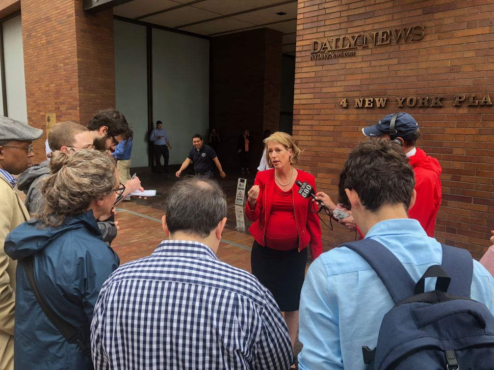 New York attorney general candidate Zephyr Teachout discusses her plan to curb Facebook and Google's adverse impact on local news outside the New York Daily News office.