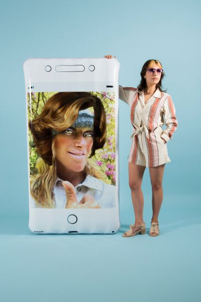 Oops Phone Float by Cindy Sherman, + POOL and Third Drawer Down, 2018.