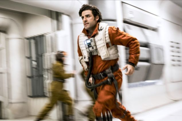 Oscar Isaac as Poe Dameron in Star Wars: The Last Jedi.