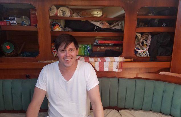 Peter Ferguson aboard Valfreyja.