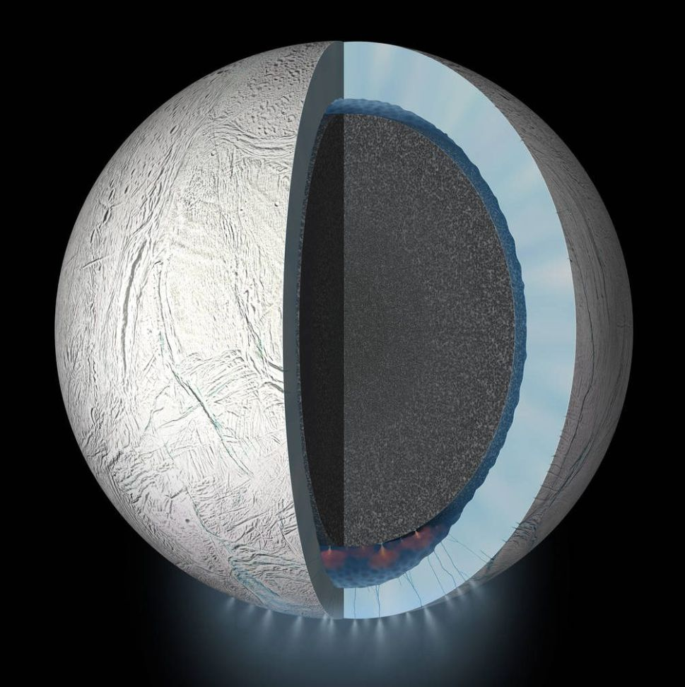 This artist's rendering showing a cutaway view into the interior of Saturn's moon Enceladus.