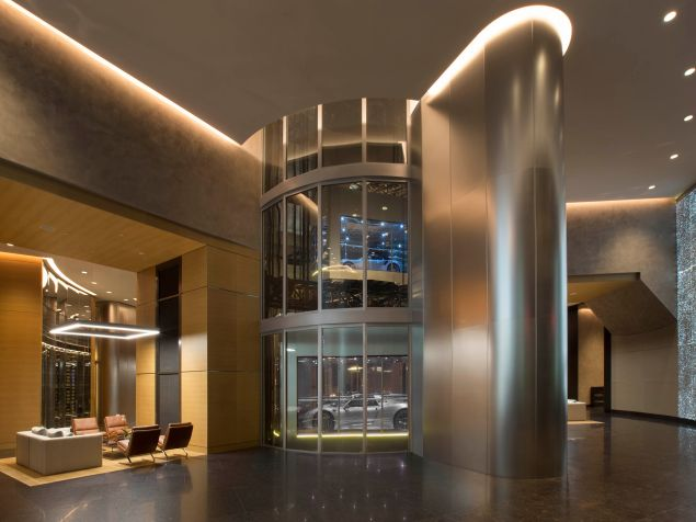 Porsche Design Tower hosts your very own private car elevator.
